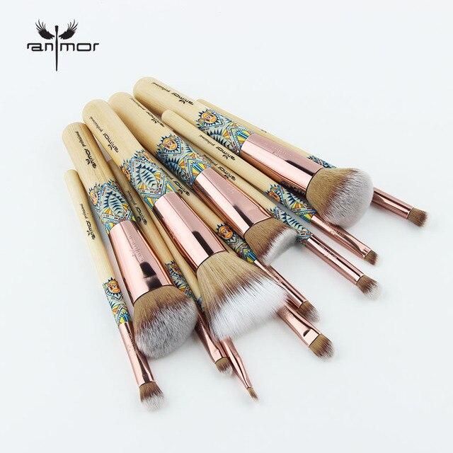 Anmor Makyaj Fırçalar 12 ADET Set Bambu Makyaj Fırça Yumuşak Sentetik Vakfı Pudra Kontur Göz Farı Kaş Kozmetik Araçları