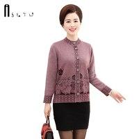 Plus Size Print Knitwear Cardigan Women Autumn Stand Neck Cashmere Women Plus Size Single Breasted Knit