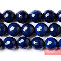 "Free Shipping  Natural StoneFaceted Dark Blue agate beads 16"" Strand 6 8 10 12MM Pick Size For Bracelet Necklace Making FDBAB01"