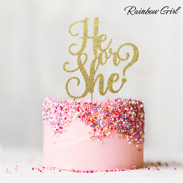 He Or She Glitter Cake Topper Girl Boy Birthday Decor Baby