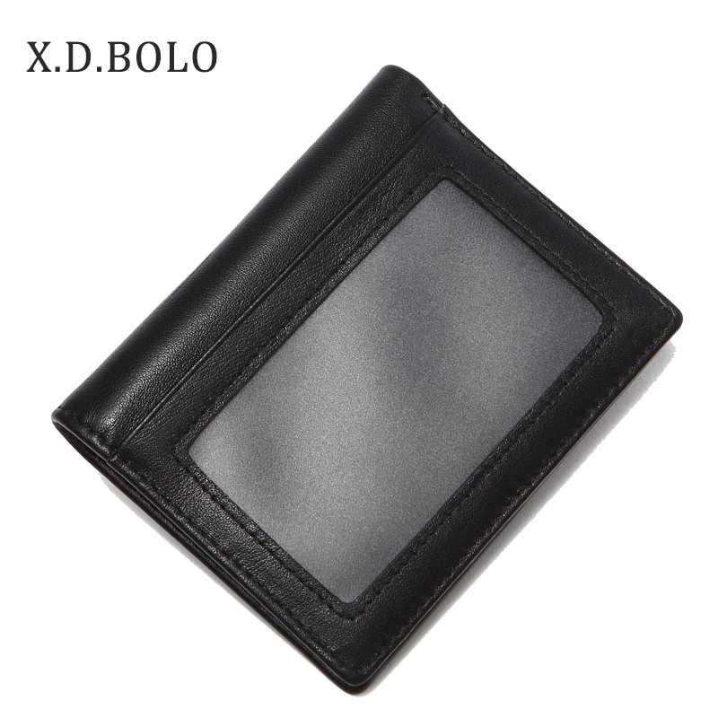 Xdbolo Europese Best Verkopende Dubbele Id Window Kaarthouder Slim Minimalistische Voorvak Echt Lederen Portefeuilles Voor Mannen