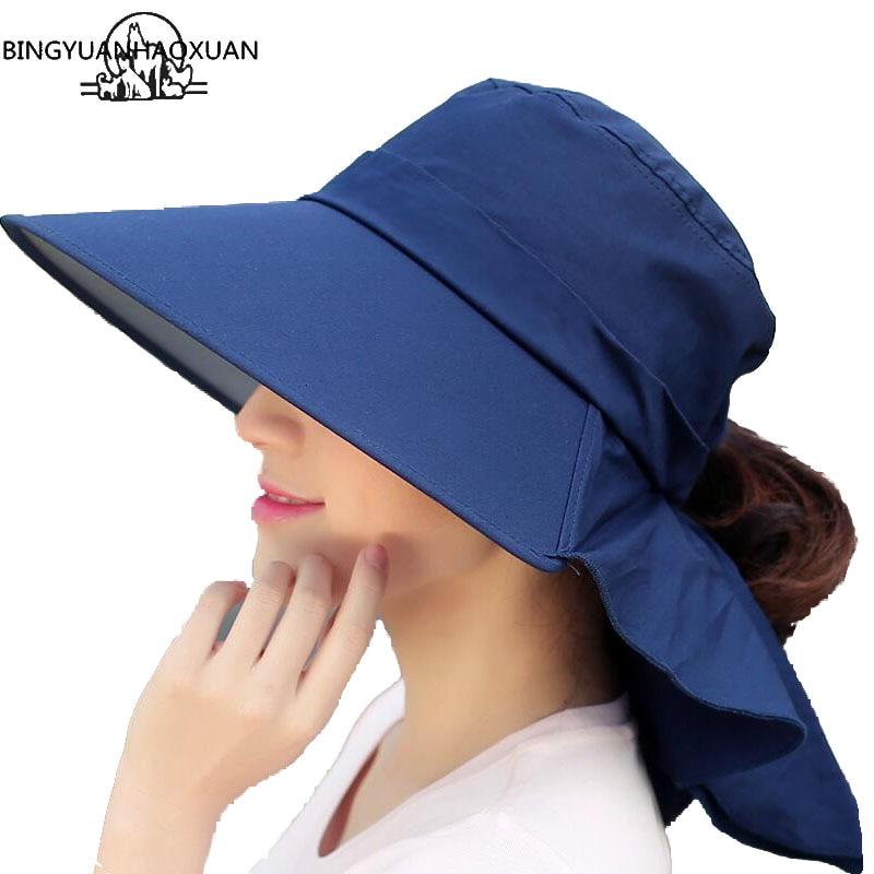 BINGYUANHAOXUAN 2018 New Brand Women Sun hat Summer Hat Folding Sunscreen Anti-uv big Biking Beach Fashion