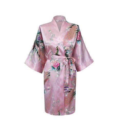 New Pink Ladies Faux Seda Roupão Kimono Vestido Clássico Do Vintage Impresso Roupa Frete Grátis S M L XL XXL XXXL