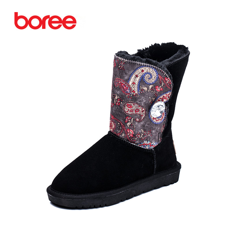 Boree Women Boots Fashion Snow Boots Retro Style Mid-Calf 100% Fur Cow Suede Winter Plush bota Feminina Zapatillas Mujer 80677 2017 cow suede genuine leather female boots all season winter short plush to keep warm ankle boot solid snow boot bota feminina