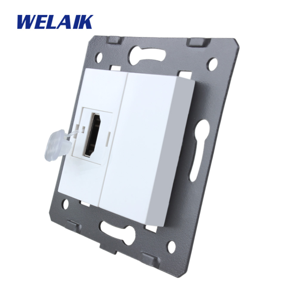WELAIK EU Standard HDMI Socket DIY Parts White Wall HDMI Socket parts Without Glass Panel A8HDW diy parts rca socket connectors white silver 10 piece pack