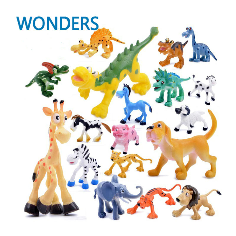 6pcs/lot Cute Cartoon Jungle Forest <font><b>Animal</b></font> Kingdom Elephant Dinosaur Farm Poultry Lion and <font><b>Tiger</b></font> <font><b>Model</b></font> Classic <font><b>Action</b></font> <font><b>Figure</b></font> <font><b>Toy</b></font>
