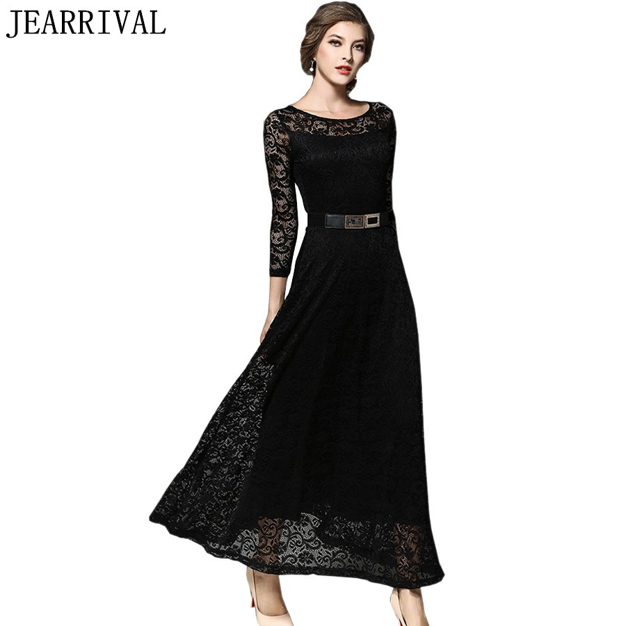 606b8c804f704 US $24.69 40% OFF|Elegant Black White Lace Dress 2019 New Spring Fashion  Women 3/4 Sleeve Vintage Long Maxi Dress Evening Party Dresses Vestidos-in  ...