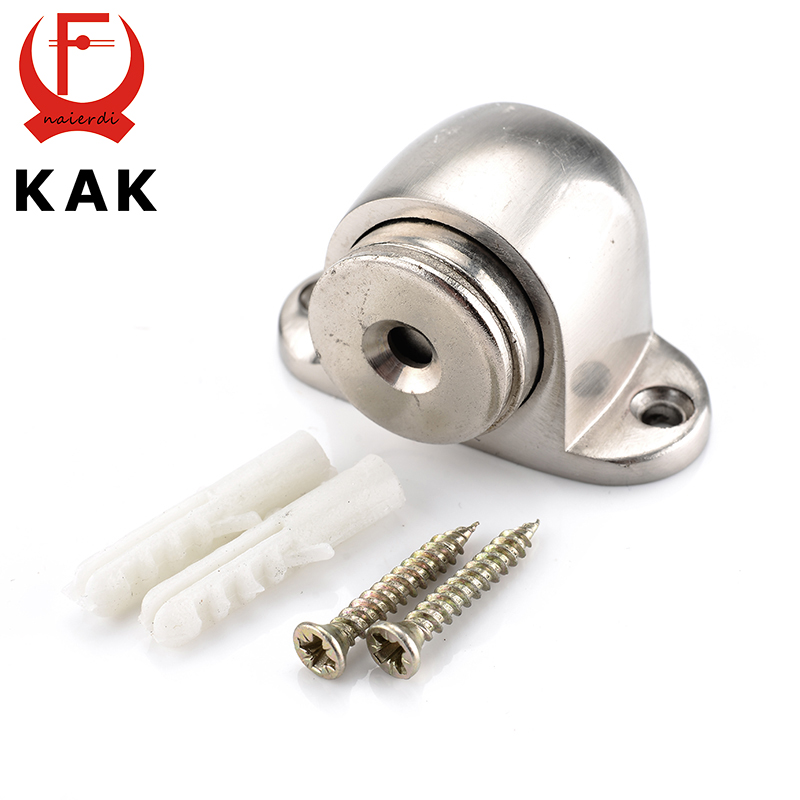 KAK Zinc Alloy Door Stop Casting Powerful Floor-mounted Magnetic Holder 54mm*35mm Satin Nickel Brushed Door Stopper