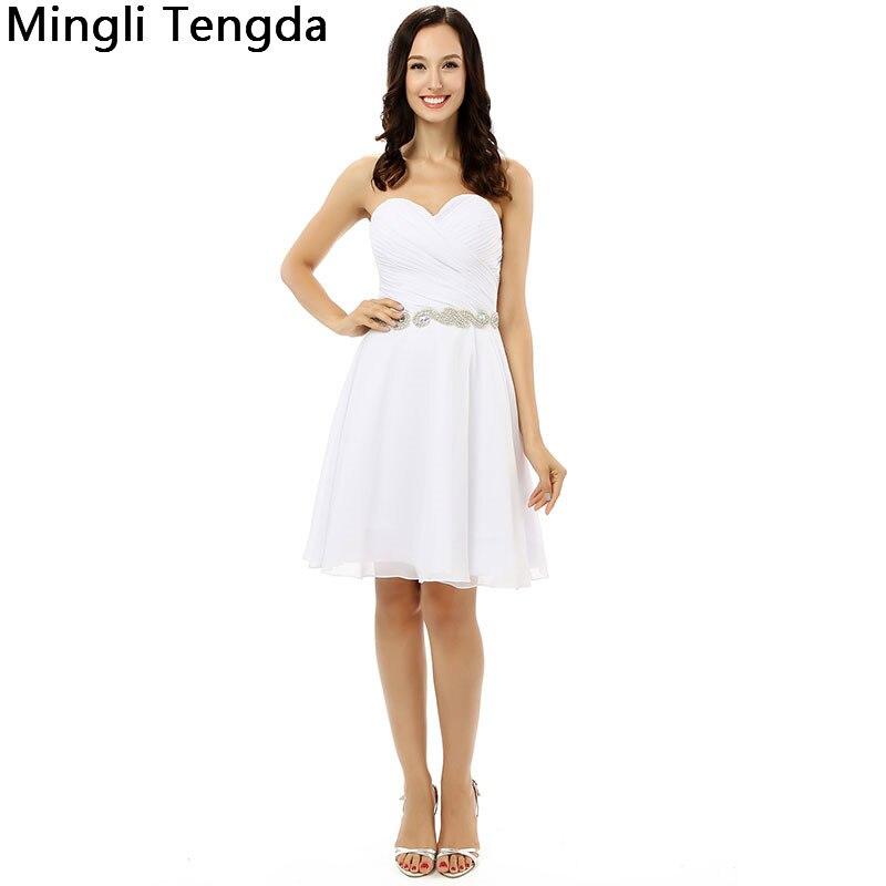 Mingli Tengda nouvelles robes de Demoiselle d'honneur en mousseline de soie ivoire Robe de Demoiselle d'honneur plissée avec des ceintures de perles chérie Robe Demoiselle D'honn