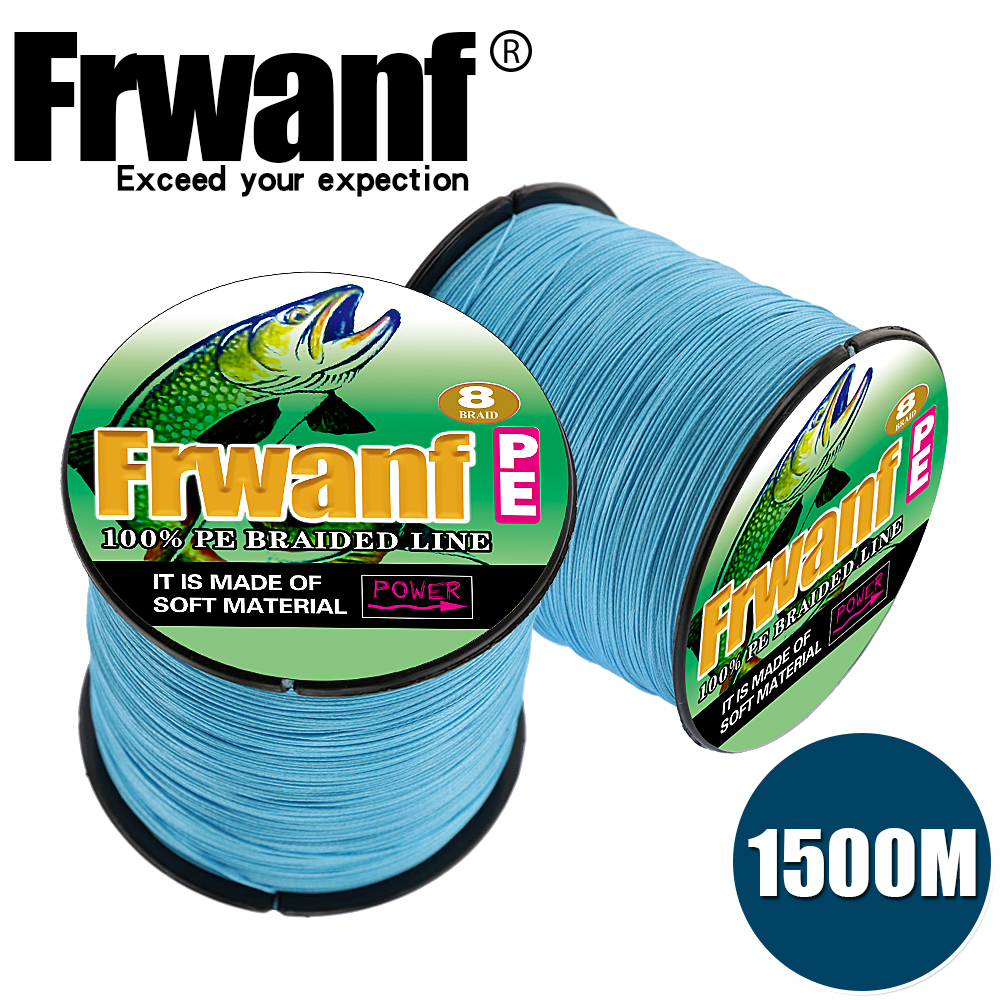 Frwanf 1500M Braided Fishing Line 8 Strand 15 LB Test Black 200LB Saltwater Freshwater Underwater Hungting Fishing Lines X8