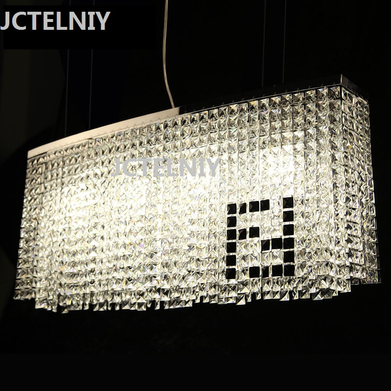 Crystal dining room pendant light modern art pendant light rectangle round bar counter brief led crystal pendant light modern fashion luxurious rectangle k9 crystal led e14 e12 6 heads pendant light for living room dining room bar deco 2239