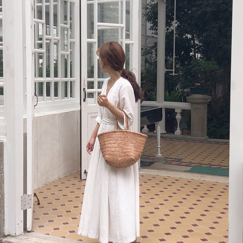 Korean Women Casual Dress Solid Ankle-Length Autumn Party Dress Vestidos Cute Clothing Office Lady Fold Loose Belt Dress 7