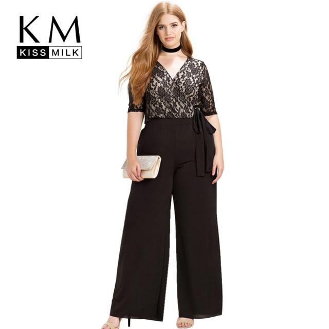 Kissmilk Women Plus Size Clothing Casual Black Surplice Wrap Lace