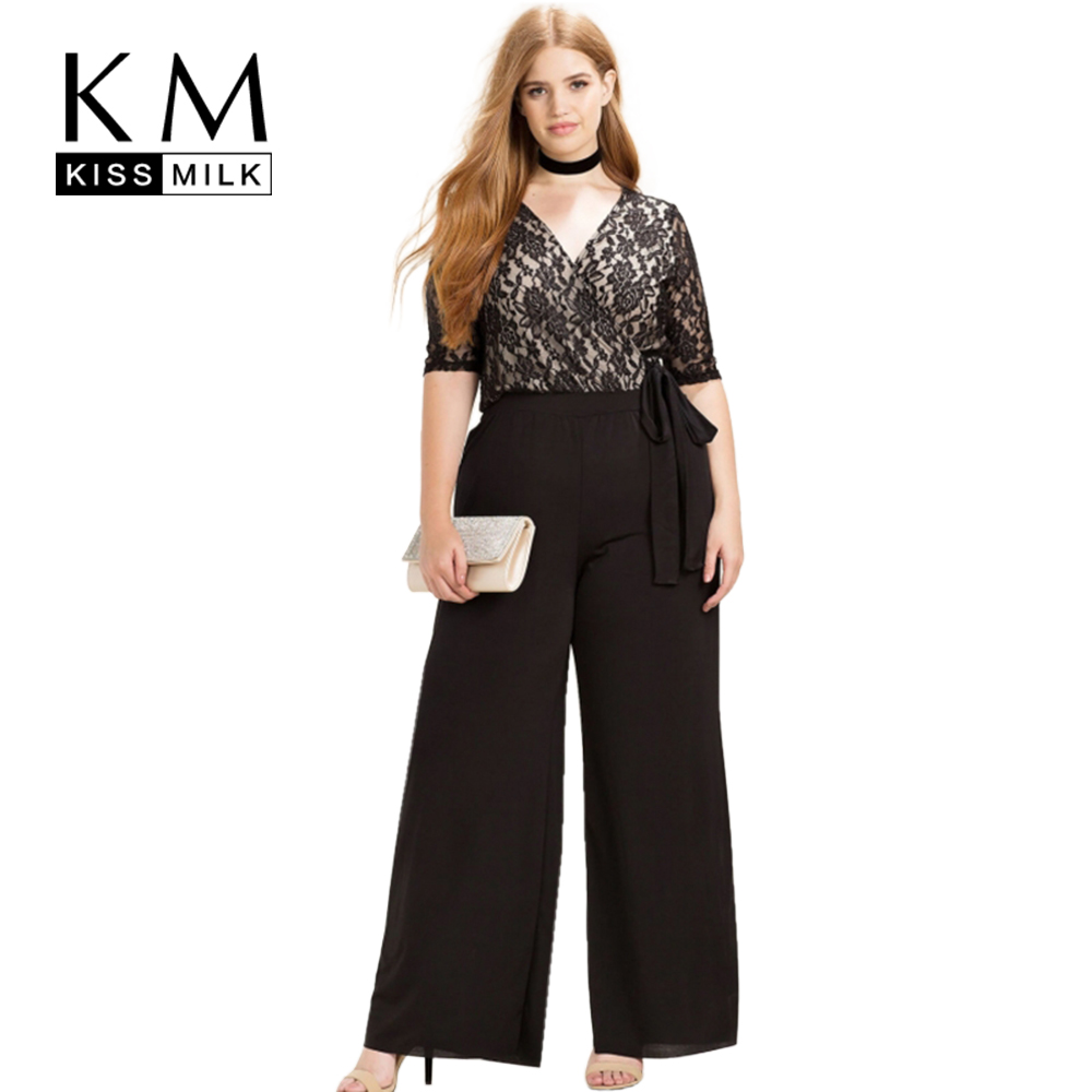 Kissmilk Women Plus Size Clothing Casual Black Wrap Lace Patchwork Rompers Sweet Waist Tie Holiday Wide Leg   Jumpsuits