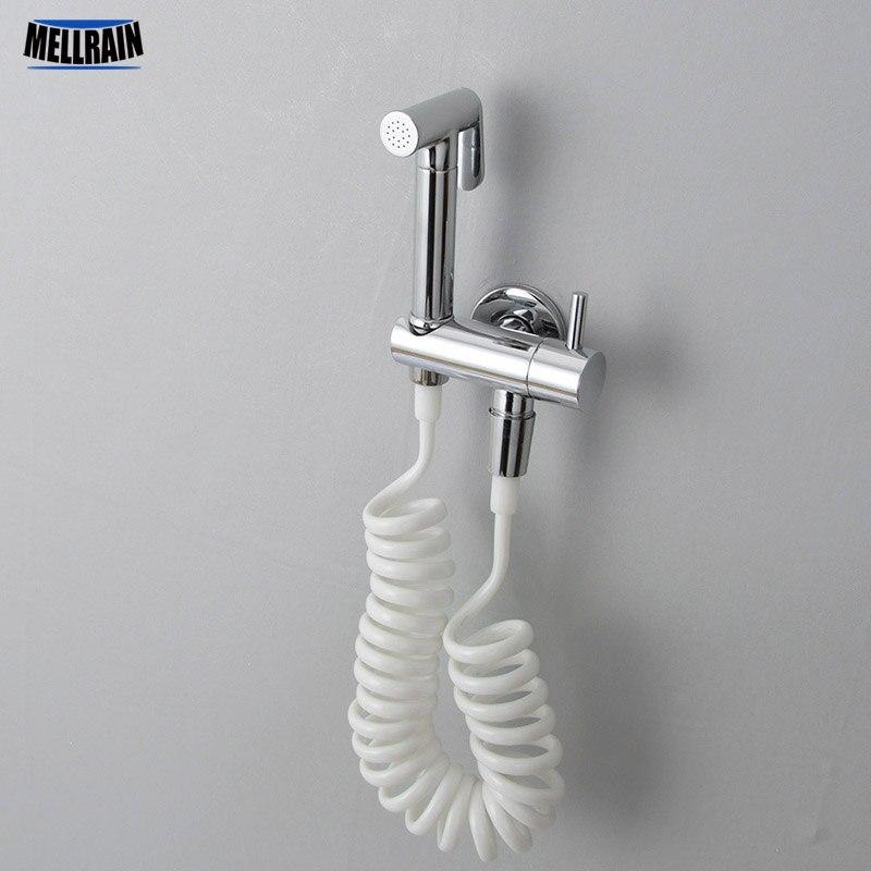 Kit pulvérisateur de Bidet de toilette en laiton chromé. Robinet de Bidet fixé au mur de salle de bains 3 mètres robinet d'arrêt de tuyau de douche