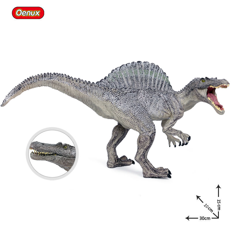 Oenux Large Size 30X11X15cm Open Mouth Spinosaurus Dinosaur World Park Model Toy Jurassic Dinosaur T-Rex Action Figure Brinquedo oenux prehistoric jurassic tyrannosaurus rex spinosaurus t rex dinossauro world model savage dinosaurs action figure toy for kid