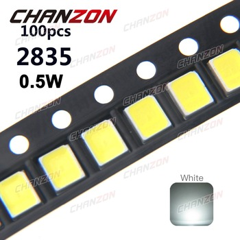 SMD LED 2835 белый чип, 100 шт., 0,5 Вт, 3 в, 150 мА, 50-55 лм, ультра яркий SMT, 0,5 Вт, крепление поверхности PCB, светодиодная лампа, излучающая диоды