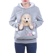 Amantes Do Gato de alta Qualidade Hoodies Afago Orelhas Do Cão Bolsa Pet Hoodies Para 2XL Canguru Casual Pullovers Camisola de Transporte Da Gota(China)