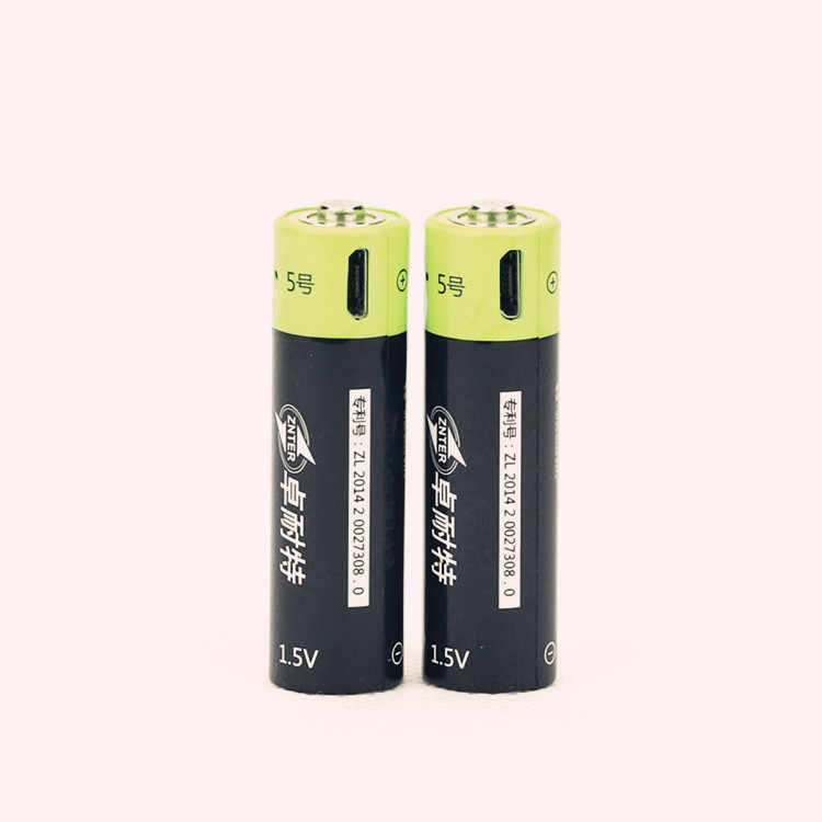 ZNTER NEW battery ! 4pcs 1.5V AA 1250MAH li-polymer lithium li-ion rechargeable battery with USB charging line