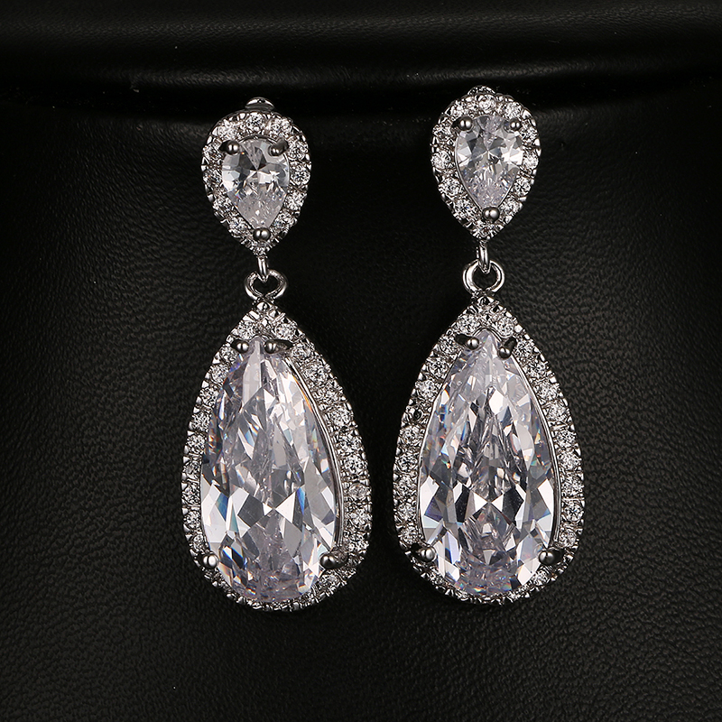 Emmaya Fashion Luxury Bride Wedding Earrings AAA Cubic Zirconia White Gold Color Engagement Jewels Party Gift