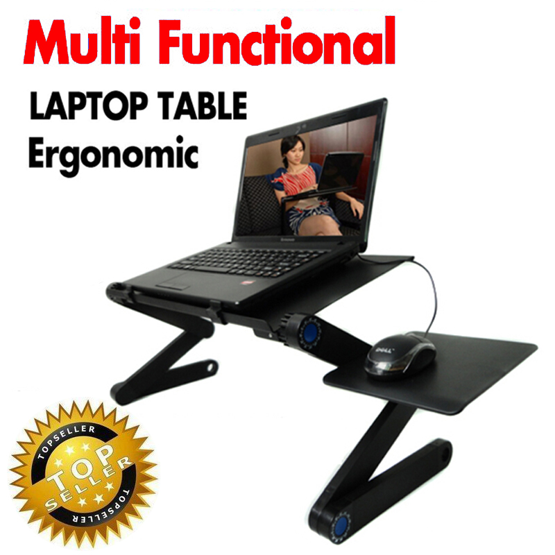 ФОТО Multi Functional Ergonomic mobile laptop table stand for bed Portable sofa laptop table foldable notebook Desk with mouse pad