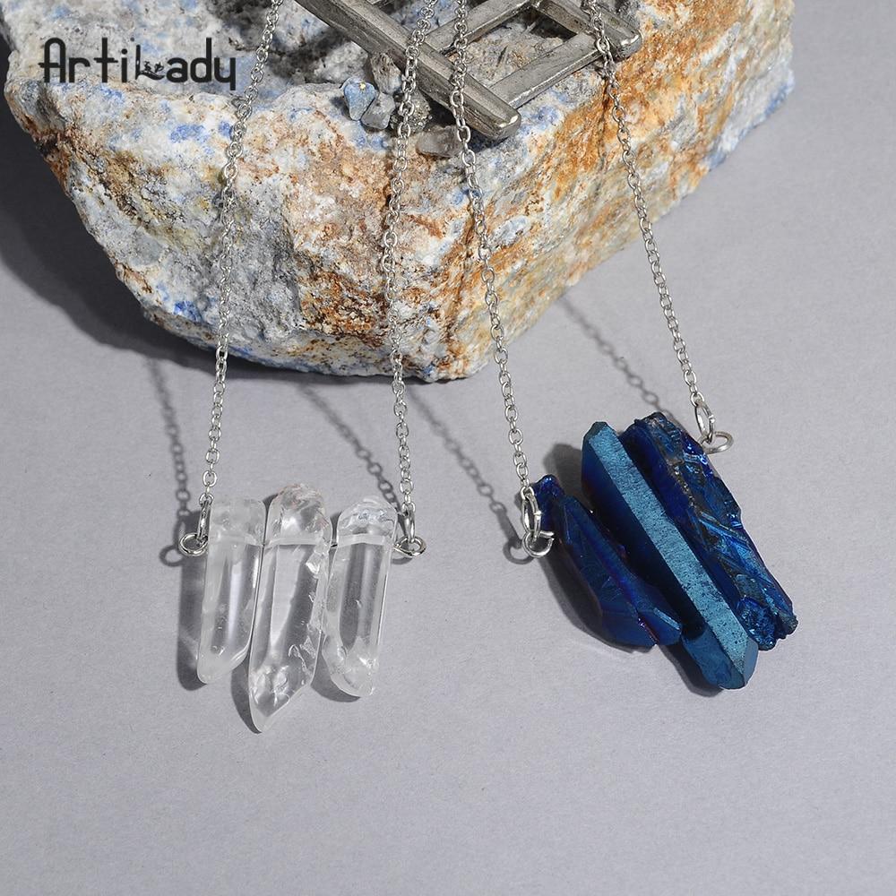 Artilady crystal pendant necklaces healing stone raw quartz