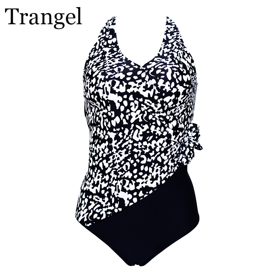 Trangel Women Swimwear Sexy One Pieces Swimsuits High Waist Bathing Suits For Women Plus Size Swimwear Monokini Bow Beach Wear one piece swimsuits trikinis high cut thong swimsuit sexy strappy monokini swim suits high quality denim women s sports swimwear