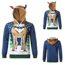 OLN Cosplay knight warrior elk Sweatshirts for men 3D printed antler hooded sweater