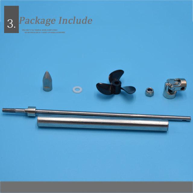 Model Boat  4mm Ship Shaft Drive Shaft +Cardan Joint+3 Blades Propeller +Stainless Steel Shaft Sleeve+Gasket/set