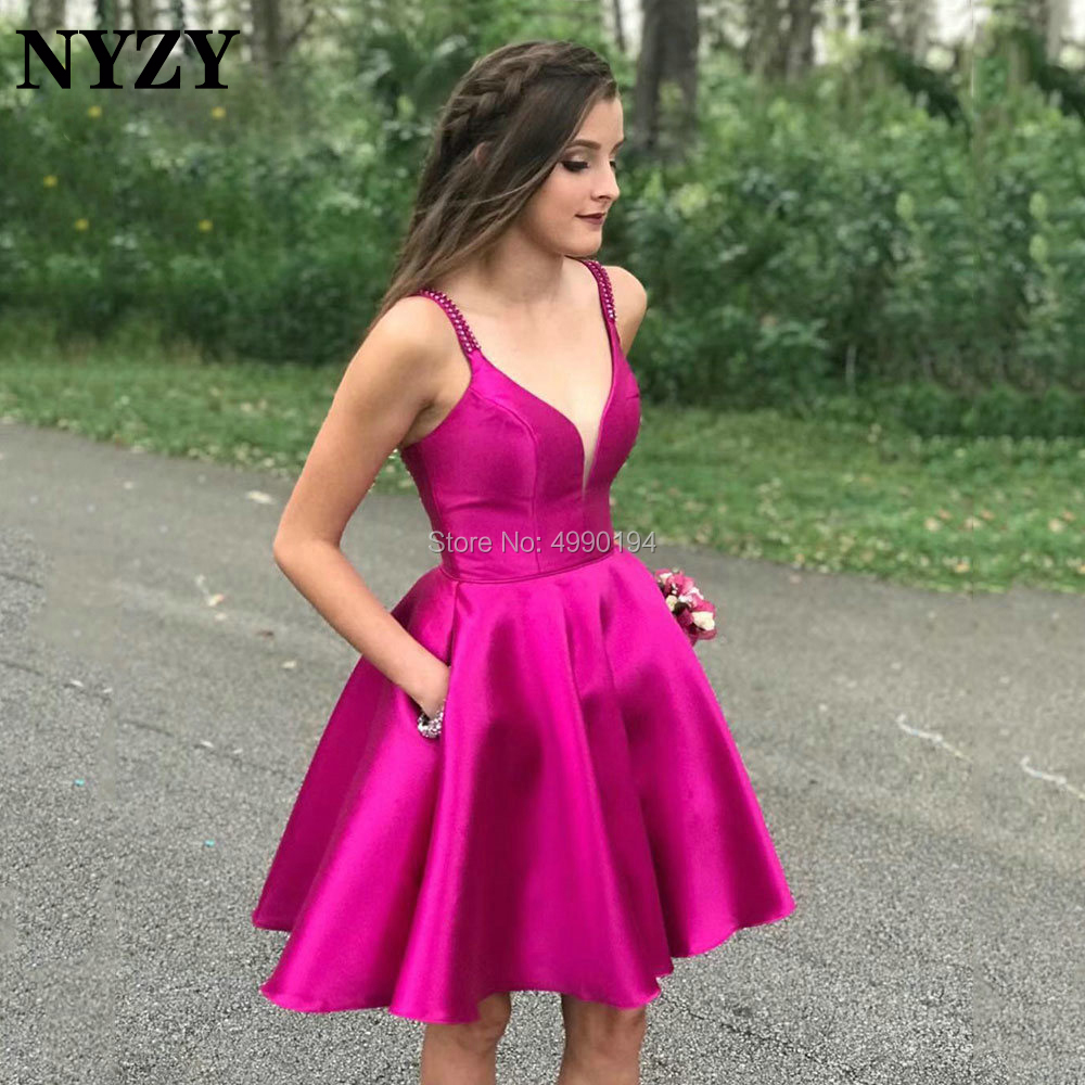 NYZY C114 Satin Ball Gown Pocket Short Mini   Cocktail     Dress   for Wedding Party Formal   Dress   robe de soiree vestidos coctel 2019