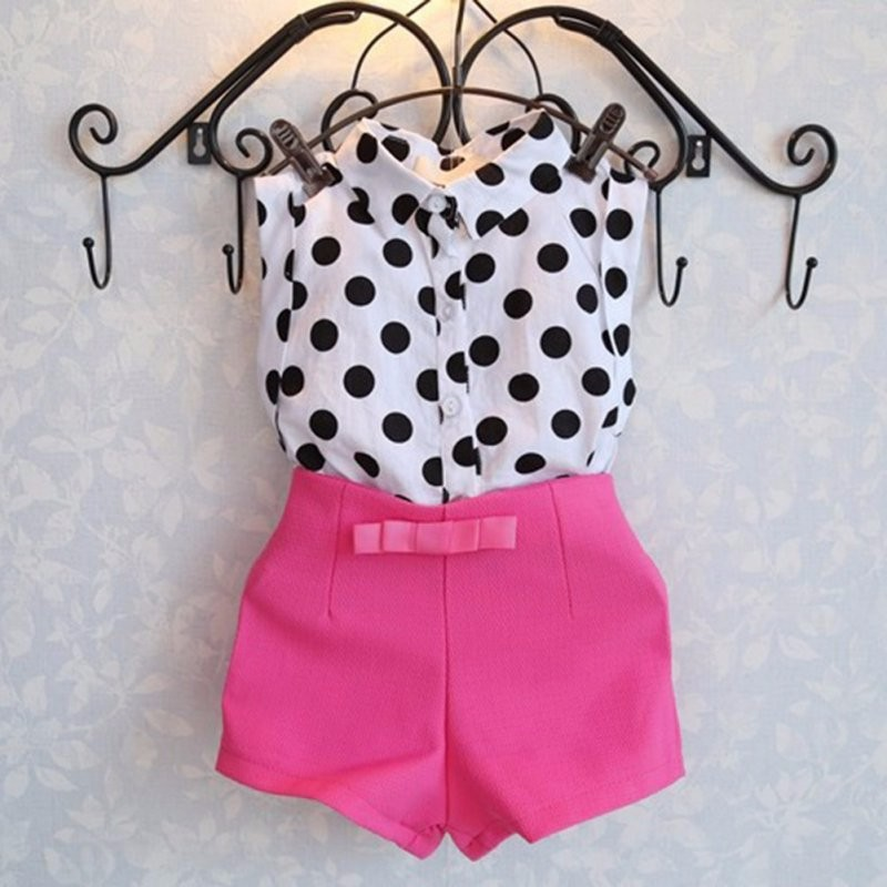 2f9ce2994 Summer Kids Baby Outfits Girl Short Clothes Set Polka Dot Shirt Tops + Rose  Shorts 2-6Y