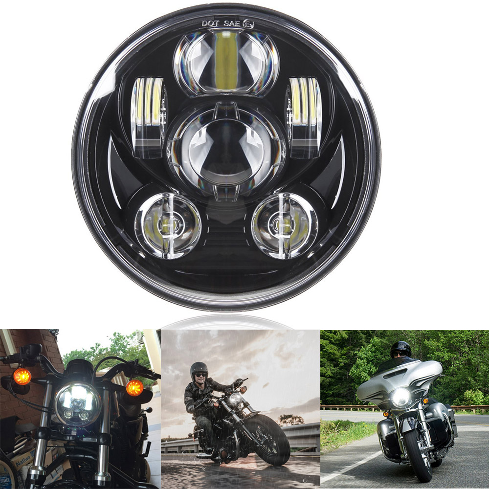 Motos Accessories 5.75 headlight motorcycle 5 3/4 led headlight for Harley 5-3/4 Motorcycle Black Projector Daymaker 2018 new