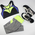 B.BANG Casual Women's Sets Zipper Seamless Bras+Leggings Patchwork Suits Top and Elastic Capris 1Set