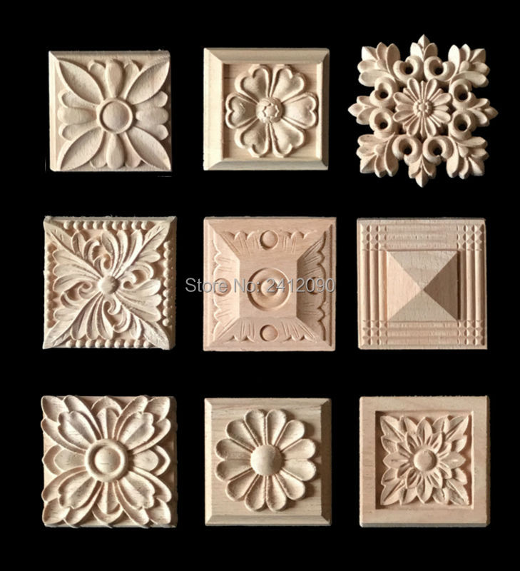 Cabinet Door Wood Carving Appliques Natural Wood Crafts Furniture Accessories Flower Alphabet Decorative Mouldings Decals 8 Pcs