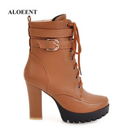 ALOEENT Winter Fashion Motorcycle Boots Short Snow Female Super High Spike Heels Zip Round ToeCross Tied