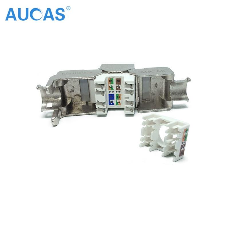 AUCAS 4 unids Cat5e keystone rj45 blindado FTP Módulo de Aleación - Cables de computadora y conectores - foto 4