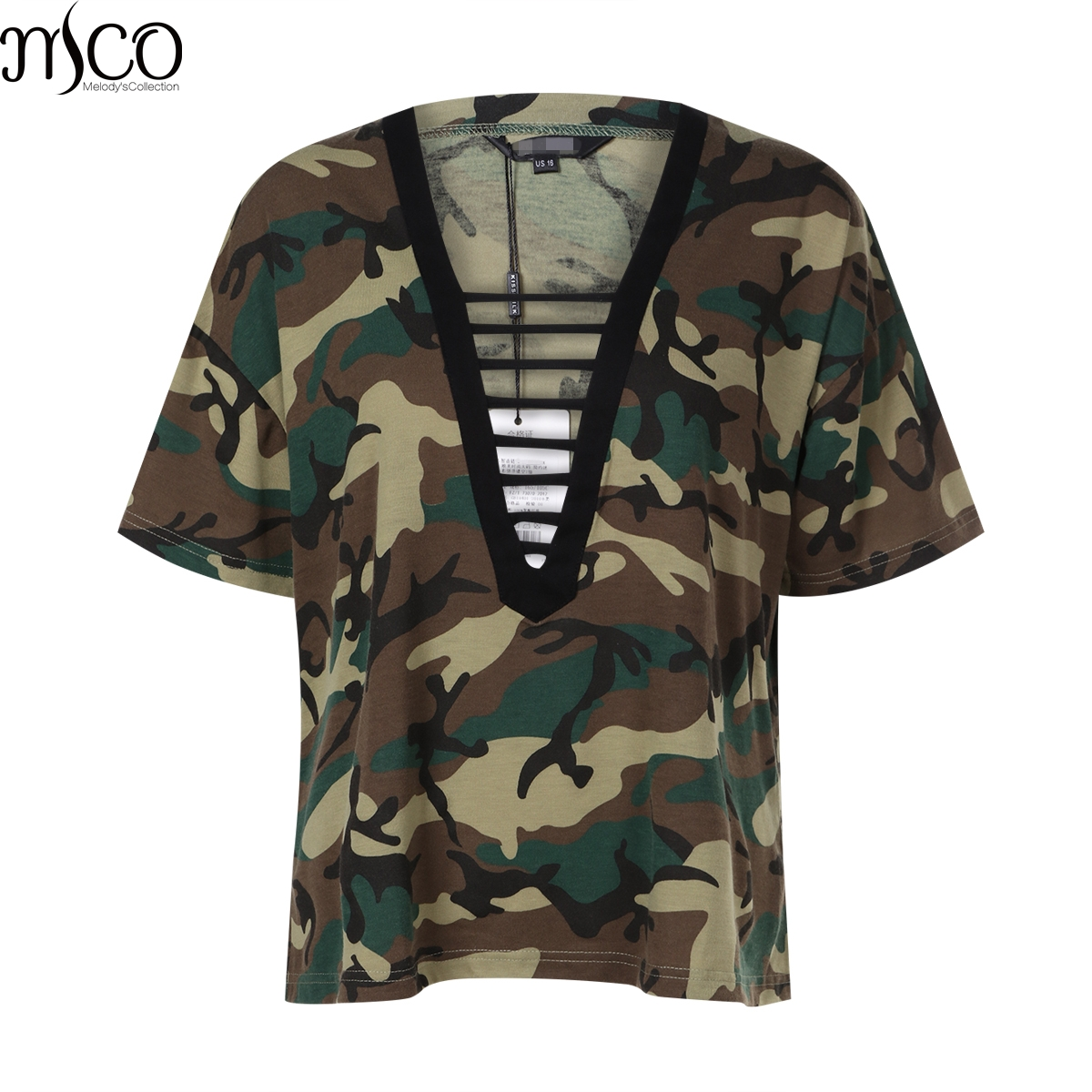 97cf2109dc0 MCO Sexy Plunge Cage V Neck Camo Print Plus Size Women T-shirt Casual Army