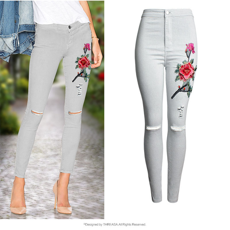 2017 Hot Fashion Women Clothing White Jeans 3D Embroidery Slim Feet Pants Jeans Knee Hole Female Pencil Pants Trousers Leggings