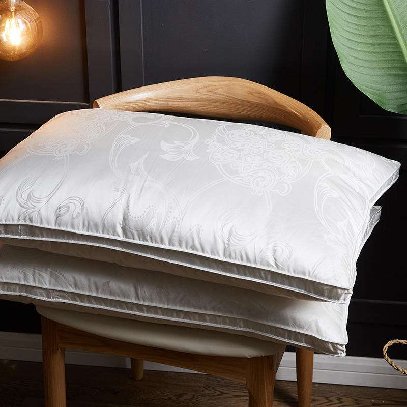 Soie jacquard taie d'oreiller blanc duvet d'oie oreiller