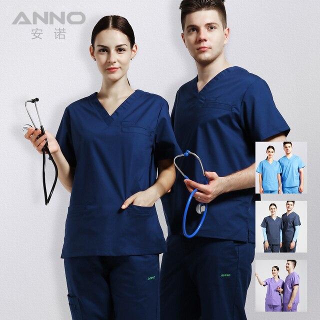 reputable site f9bb6 1c3b3 ANNO Elastic Medical Scrubs Hospital Staff Uniforms Pretty Nursing Clothes  and Salon Slim fit fashion design Surgical gown