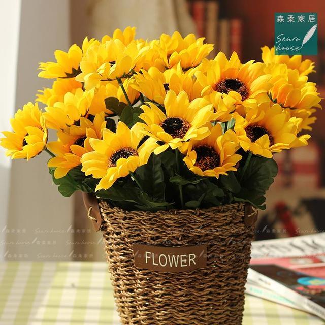 Highquality 1 Bouquet Jaune Soie De Tournesol Decoratif Fleur 7