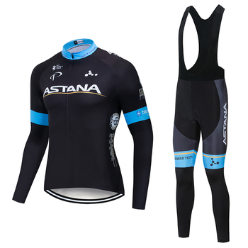 Primavera otoño 2018 equipo astana manga larga Ciclismo jersey conjunto Ropa transpirable...