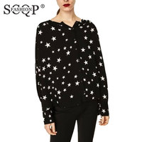 SCQP FASHION Stars Print Women Blouses Long Sleeve Round Neck Button Tops Oversize Loose Elegant Ladies