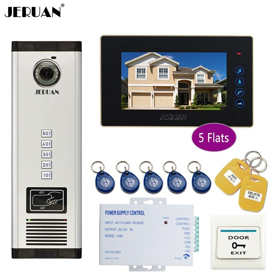 JERUAN 7 дюймов ЖК-дисплей монитор 700TVL Камера телефон видео домофон доступа ворот дома запись безопасности комплект для 5 семей квартиры