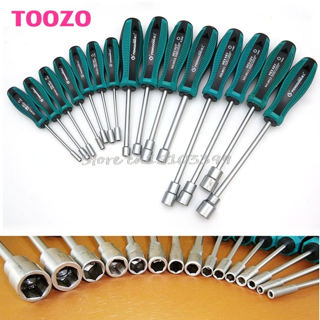 3-14mm Metal Socket Driver Hex Nut Key Wrench Screwdriver Nutdriver Hand Tool
