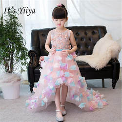 Это yiiya Новые Аппликации майка для девочек в цветочек платья Класс розовый длиной до пола платье для девочек TS255