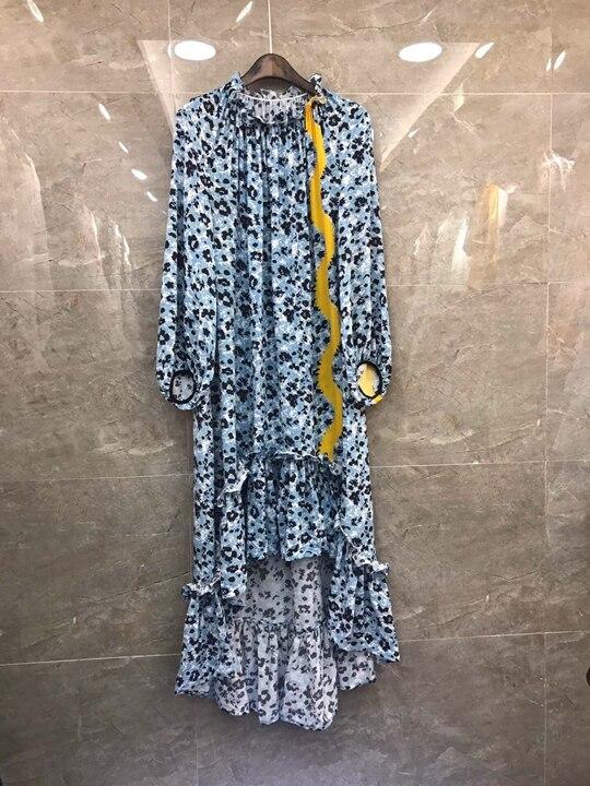 À Femme Imprimée Longues Manches Lotus Nouvelle Feuille Bord Robe Bleu Printemps Avec D'été 0323 Et q7pcPtHv