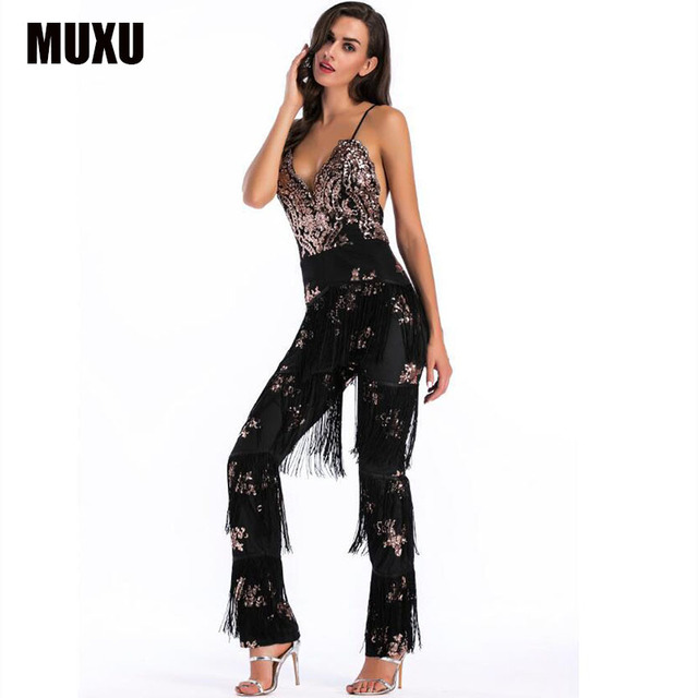 c2204e0b0d6 MUXU sequin glitter body rompers womens jumpsuit body suit jumpsuits for  women bodies woman sexy black