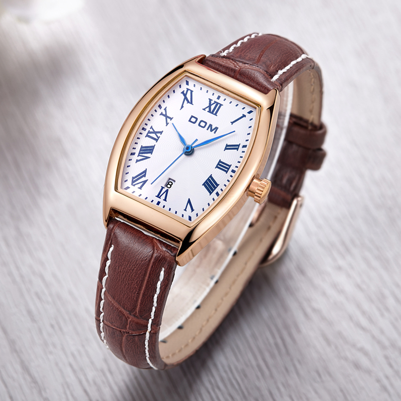 DOM 2016 Women Watches Fashion Personality Quart Watch Leather Belt Vintage Simple Casual Waterproof Wristwatch