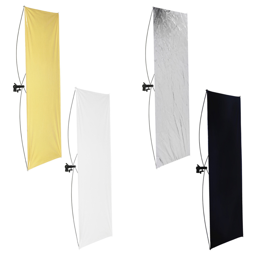 Neewer 28x43inches/70x110 cm Flat Panel Light Reflector Gold/Silver+Black/360 Degree Rotating Holding Bracket+Carrying Bag